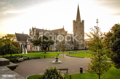 St. Patricks Park with St Patrick's Cathedral in Dublin, Ireland.
