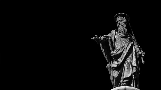 St Paul Apostle of Christianity (Black and White with copy space)