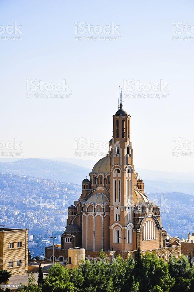 St Paul Basilica at Harissa near Beirut in Lebanon stock photo