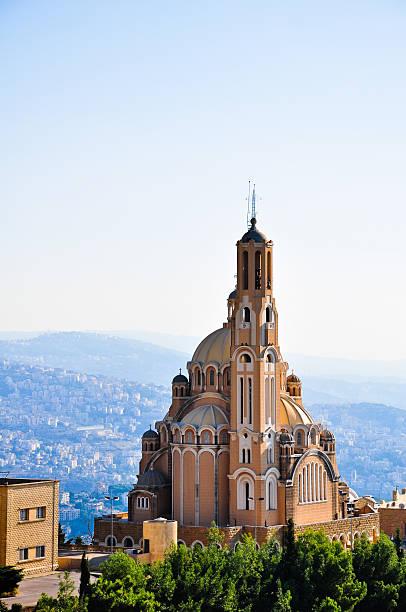 st paul базилика в харисса от бейрута в ливане - beirut стоковые фото и изображения