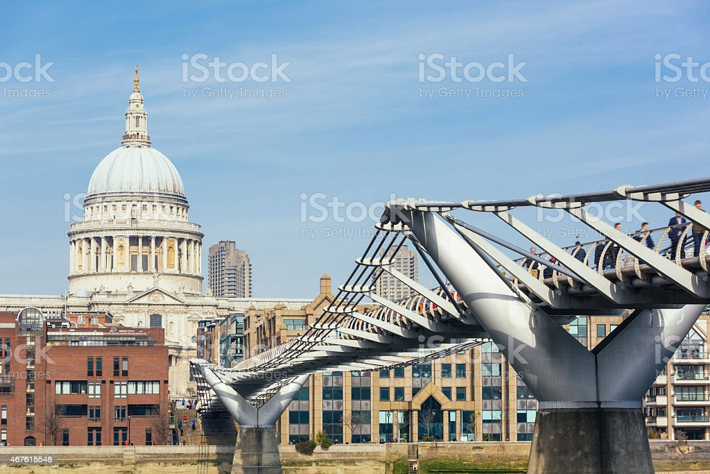 St Paul Cathedral and Millennium Bridge in London stock photo