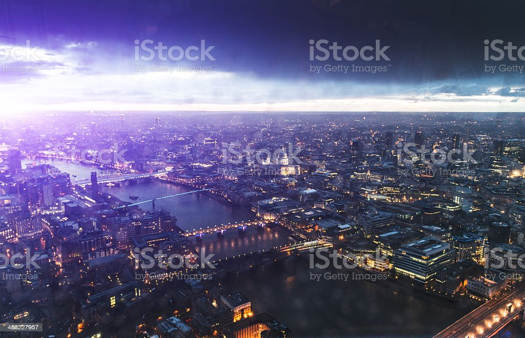 St. paul cathedral and river thames aerial view on night stock photo