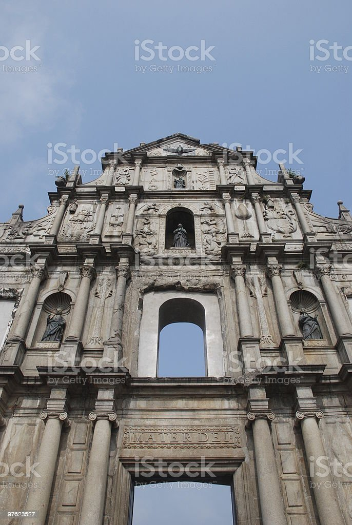 St. Paul Cathedral ruins, Macau royalty-free stock photo