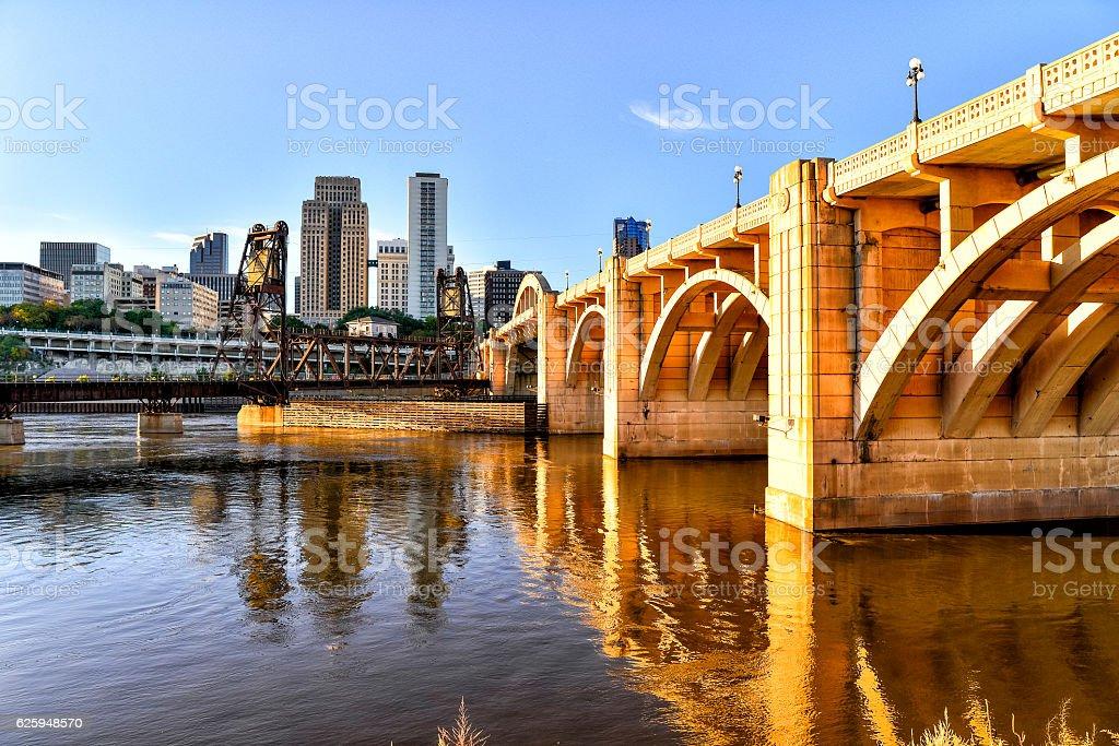 St. Paul, Minnesota Skyline, Bridge and Riverfont stock photo