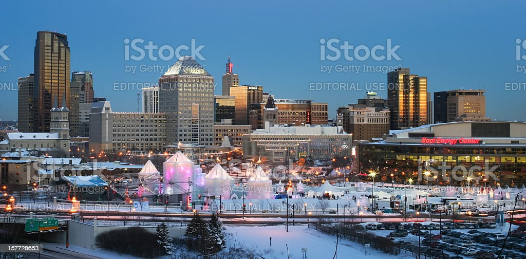 St. Paul Minnesota with Winter Carnival. stock photo