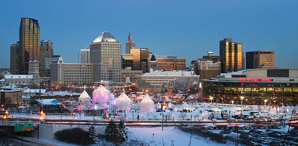 St. Paul Minnesota with Winter Carnival. stock photo