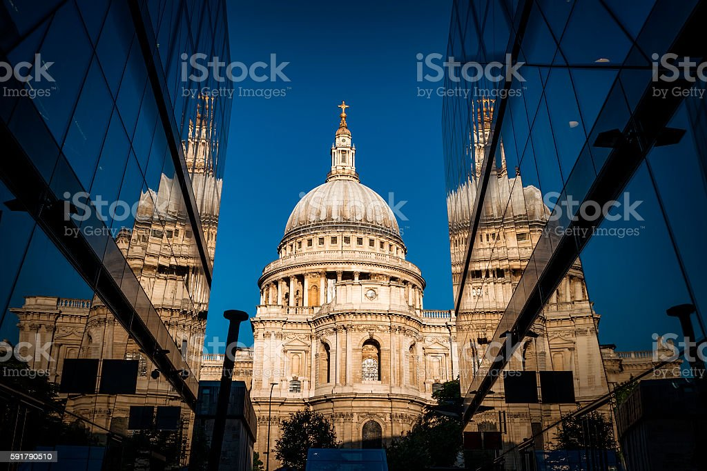 St Paul mirroring in windows against the blue sky stock photo