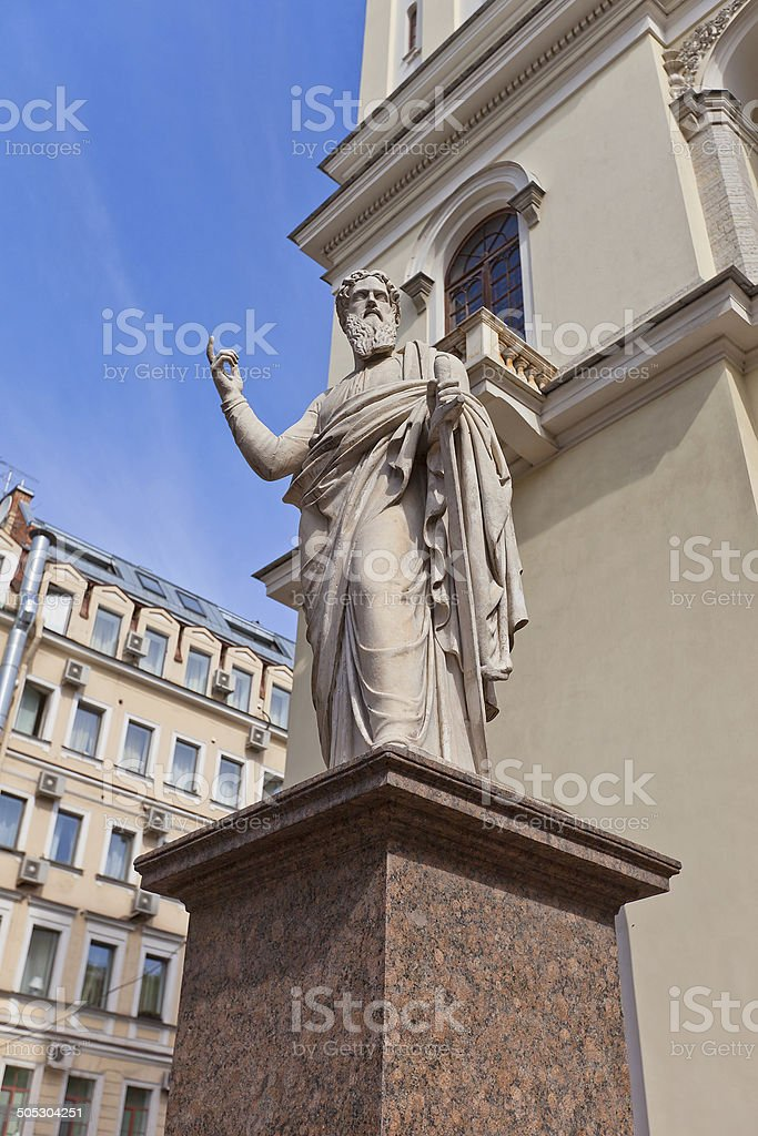 St Paul statue of St Peter Lutheran Church (1838) in St Petersburg stock photo