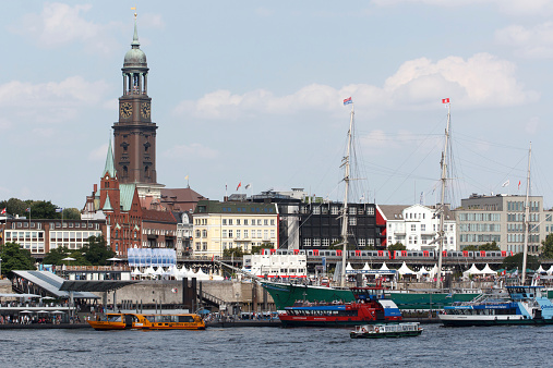St. Pauli Piers with St. Michael's Church in Hamburg