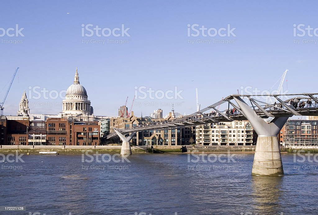 St Paul's and Millennium Bridge royalty-free stock photo
