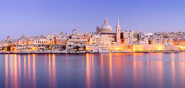 St Pauls Anglican Cathedral and Carmelite Church at Valletta Malta stock photo
