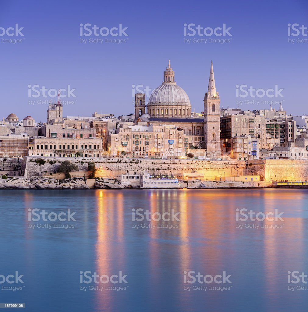 St Paul's Anglican Cathedral in Malta at twilight stock photo