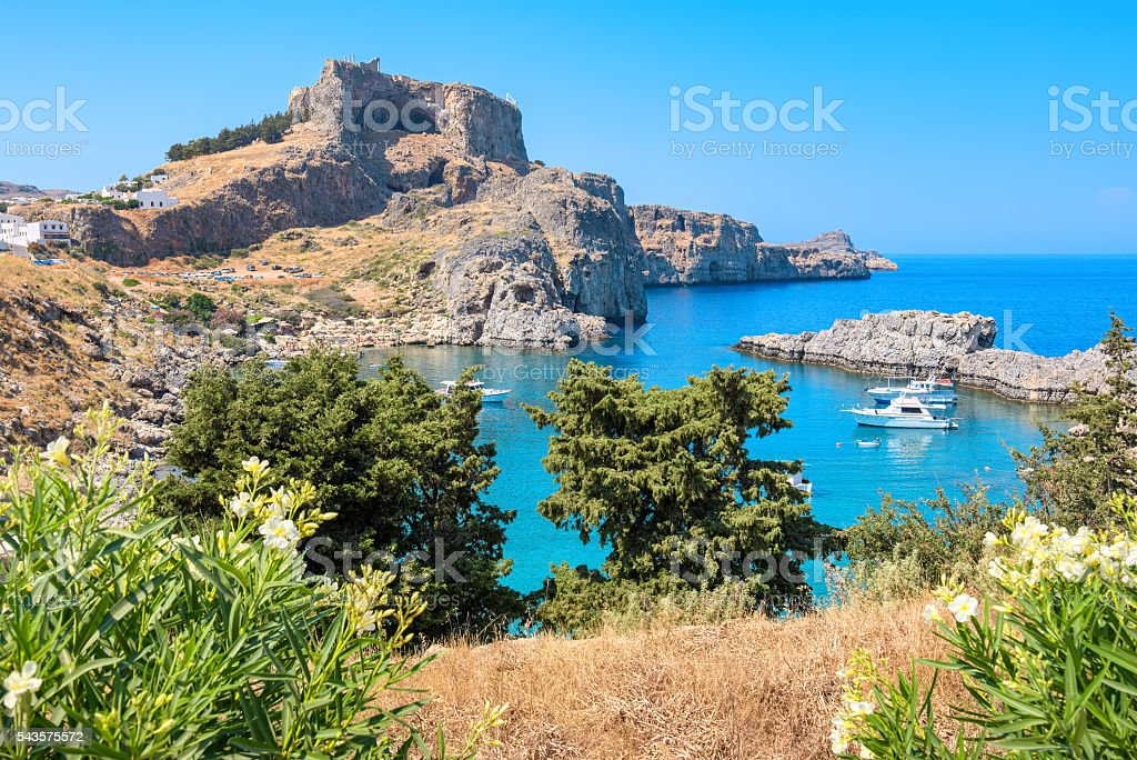 St Pauls bay. Lindos, Rhodes, Greece stock photo