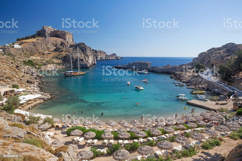 St. Pauls Bay, Lindos, Rhodes, Greece stock photo
