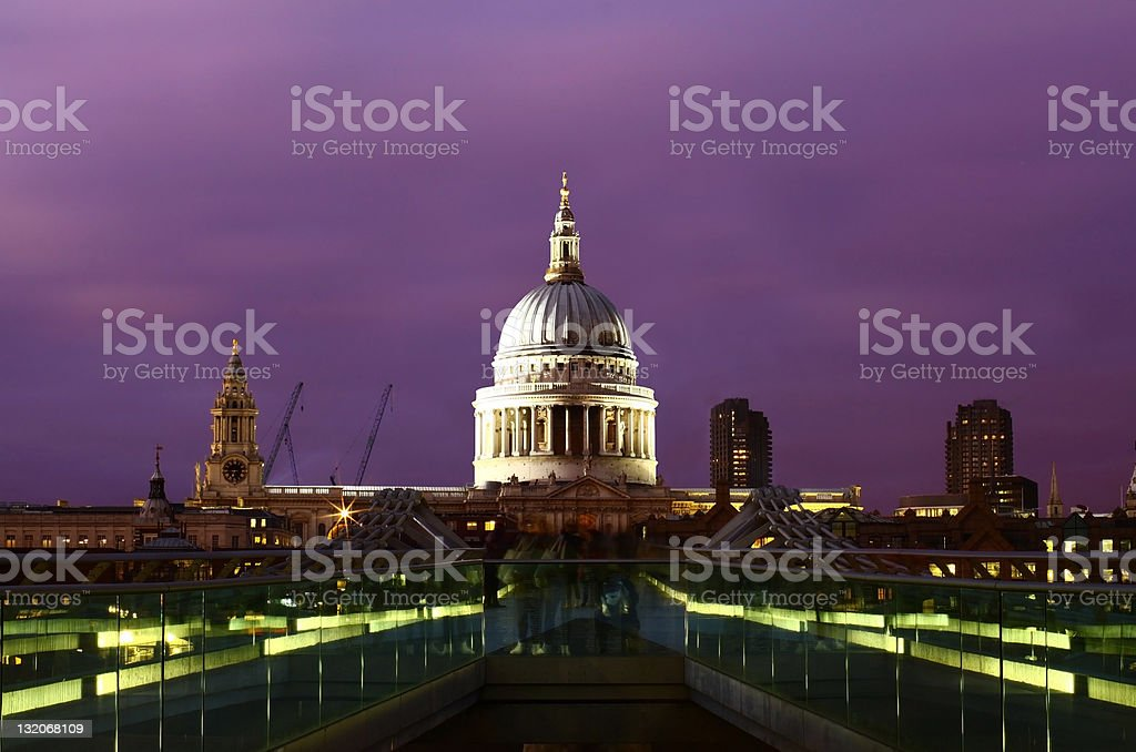 St Paul's Cathedal and Millenium Bridge, London royalty-free stock photo
