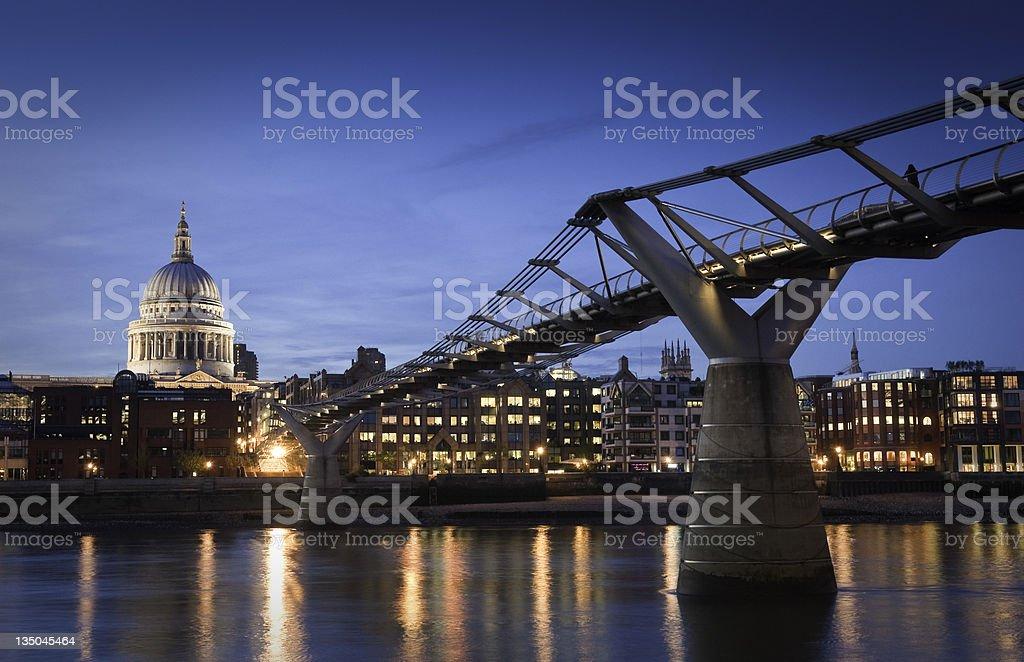 St Paul's Cathedral & Millennium Bridge, London stock photo