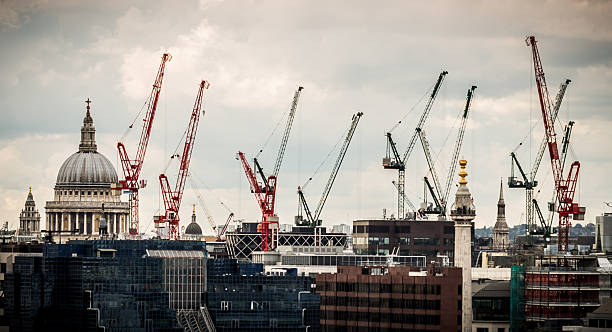 St Pauls Cathedral and Cranes on the London Skyline stock photo