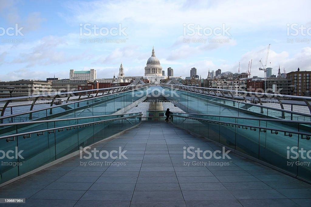 St Pauls cathedral and Millenium bridge, London stock photo