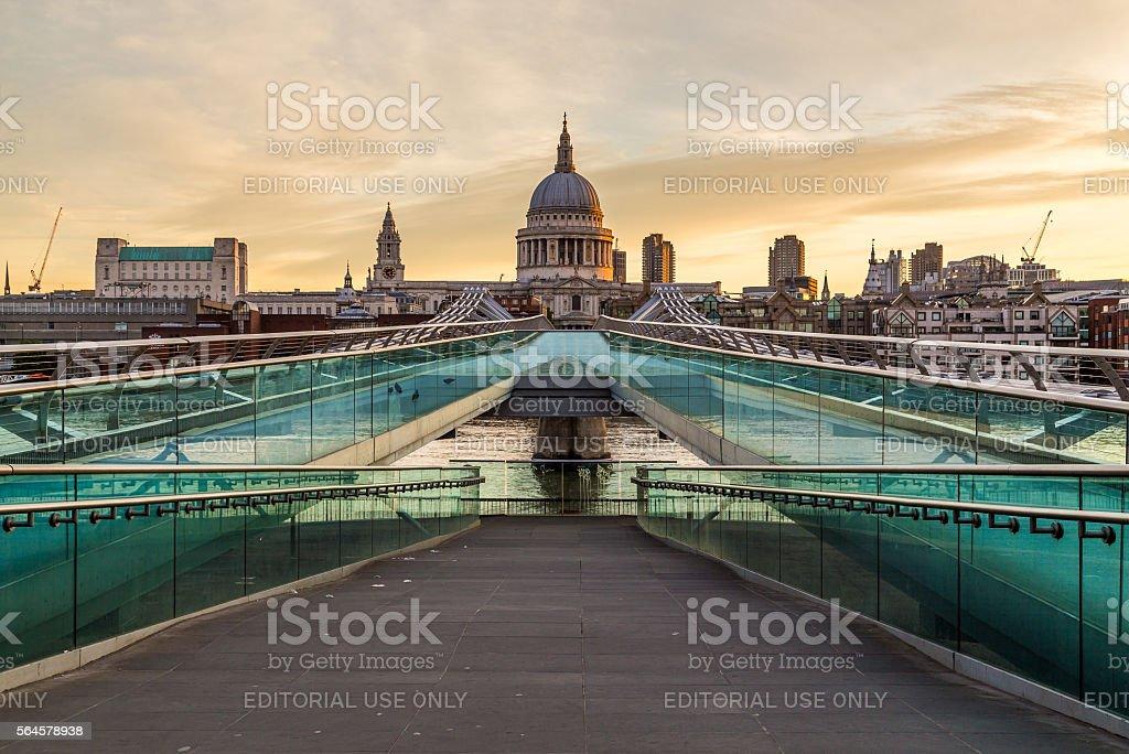 St Pauls Cathedral and Millenium Bridge stock photo