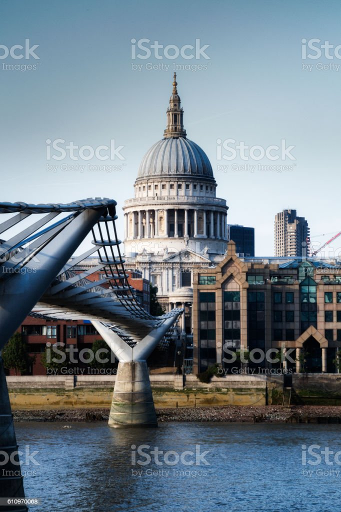 St. Paul's Cathedral and Millennium Bridge, London England stock photo