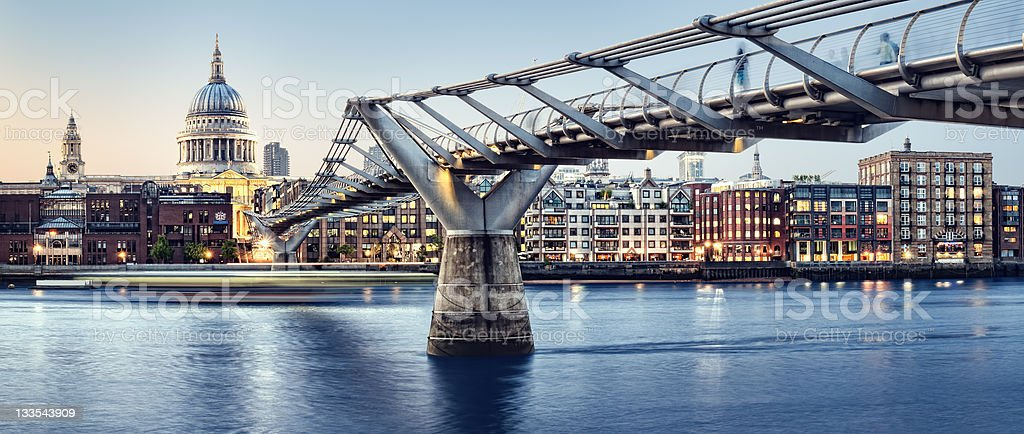 St. Paul`s  Cathedral and Millennium Bridge stock photo