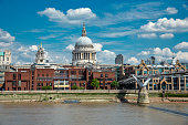 St. Paul's Cathedral and the Millennium Bridge in London, UK