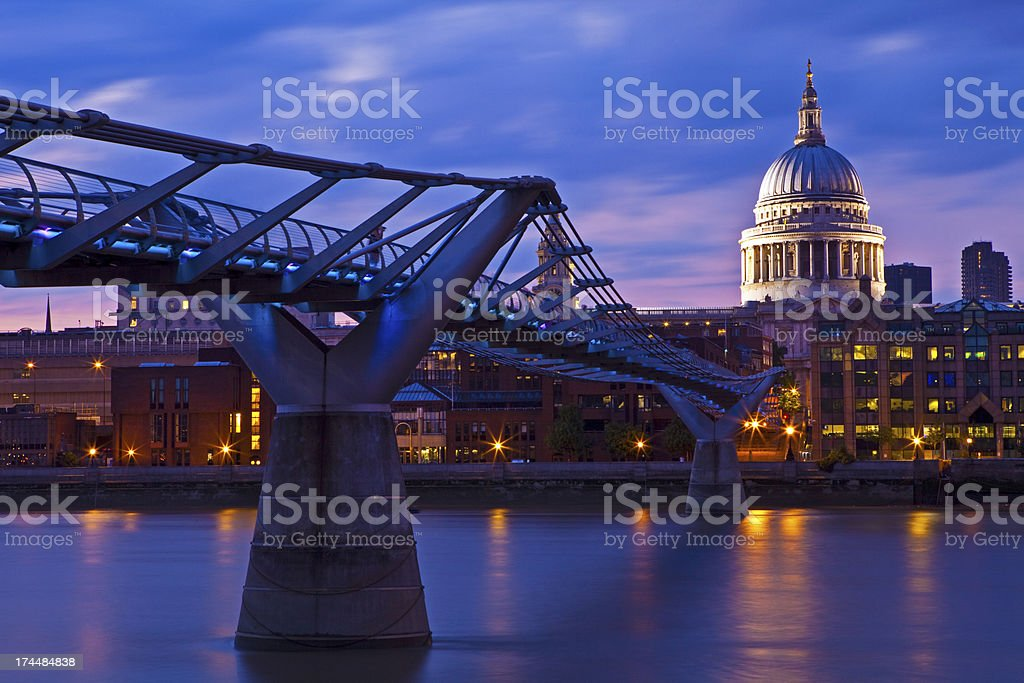 St. Paul's Cathedral and the Millennium Bridge royalty-free stock photo