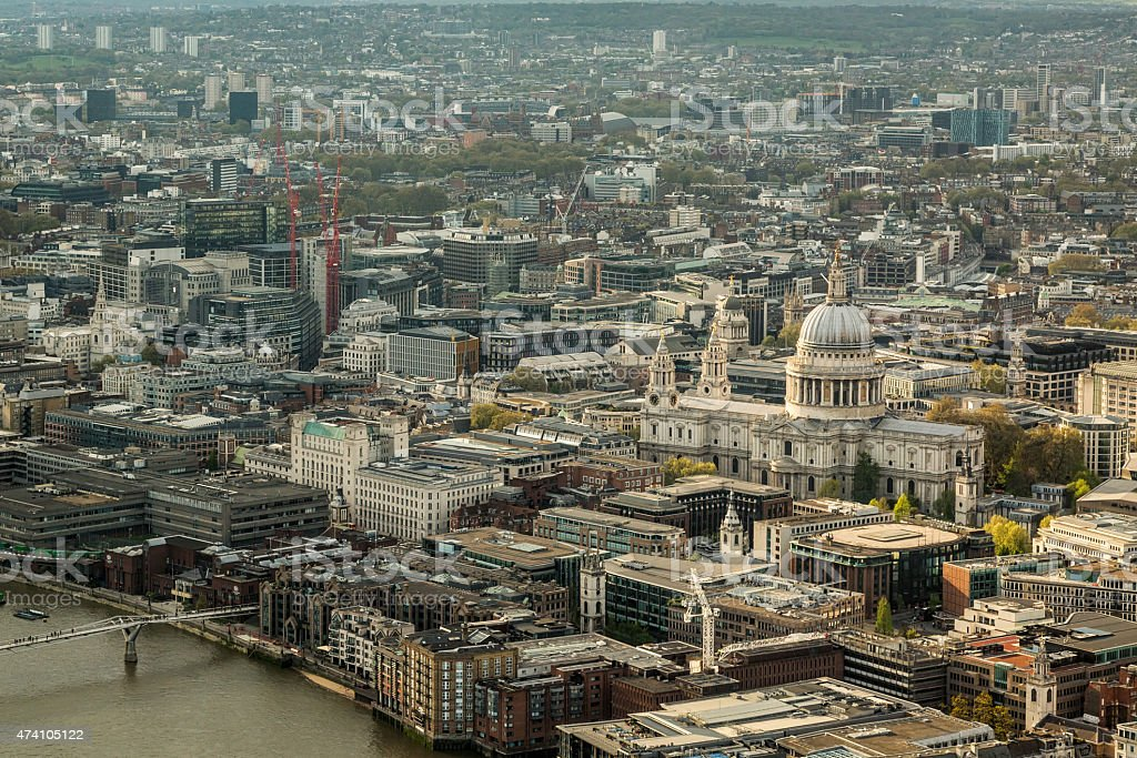 St Paul's cathedral and the skyline of London stock photo