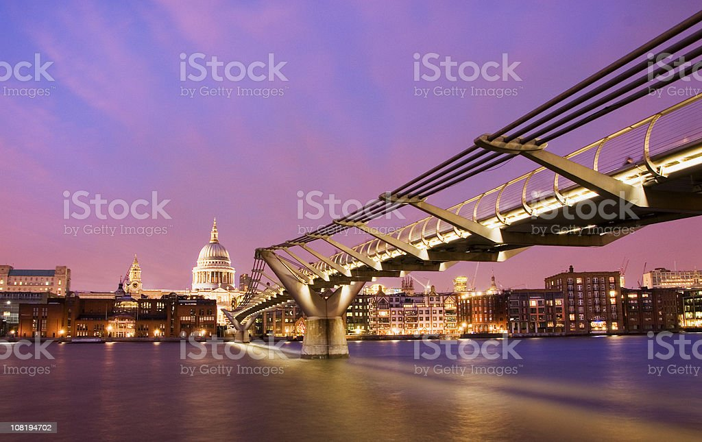 St Pauls Cathedral at Sunset in London UK stock photo