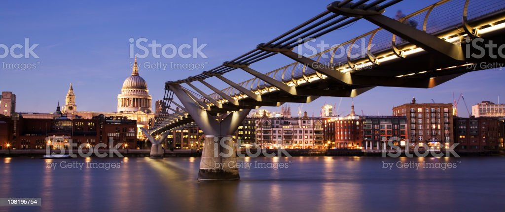 St Paul's Cathedral at Twilight Panorama royalty-free stock photo