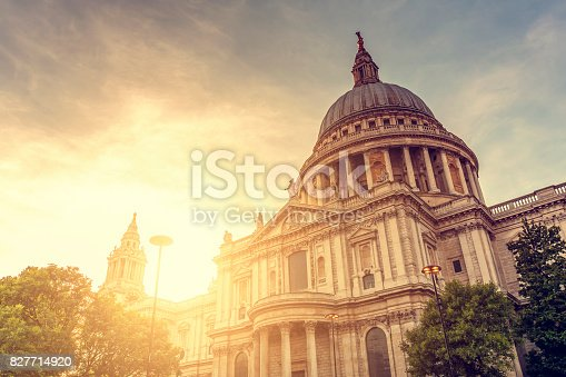 St Paul's Cathedral dome at sunset in London