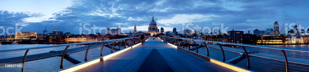 St Paul's Cathedral from the Millennium Bridge royalty-free stock photo