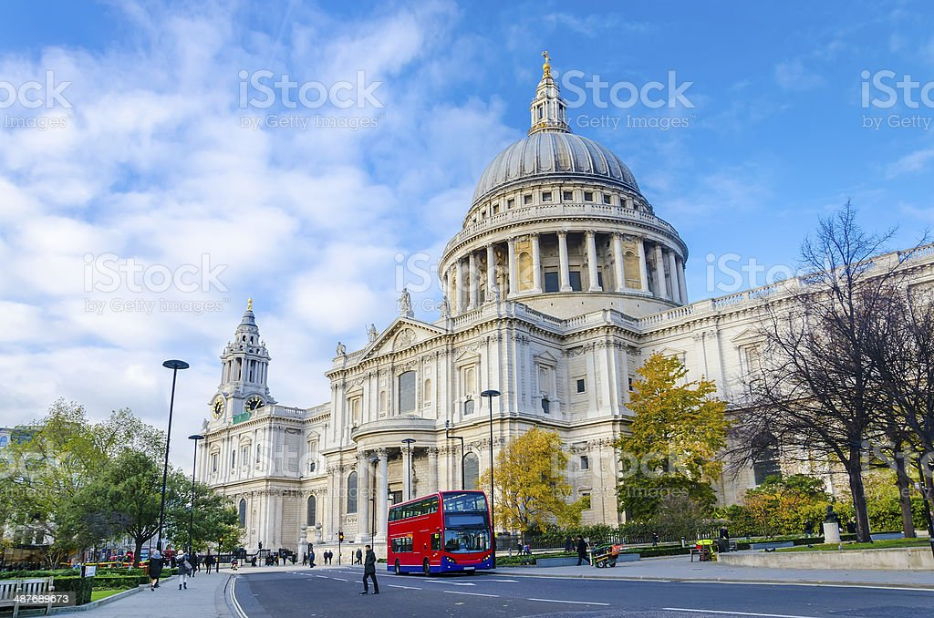 St. Paul's Cathedral from the south vertical stock photo