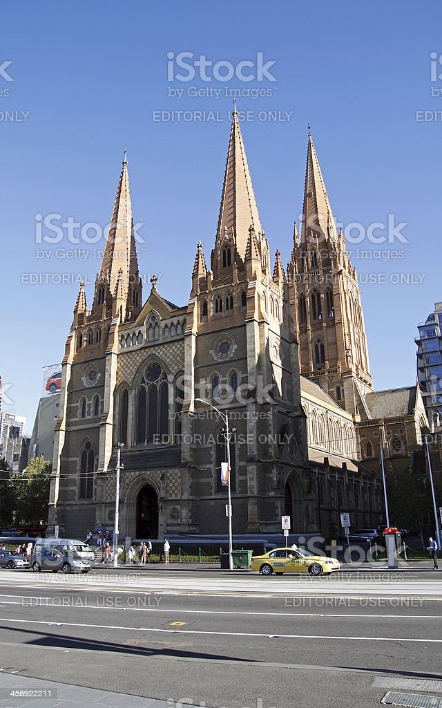 St. Paul's Cathedral in Melbourne stock photo