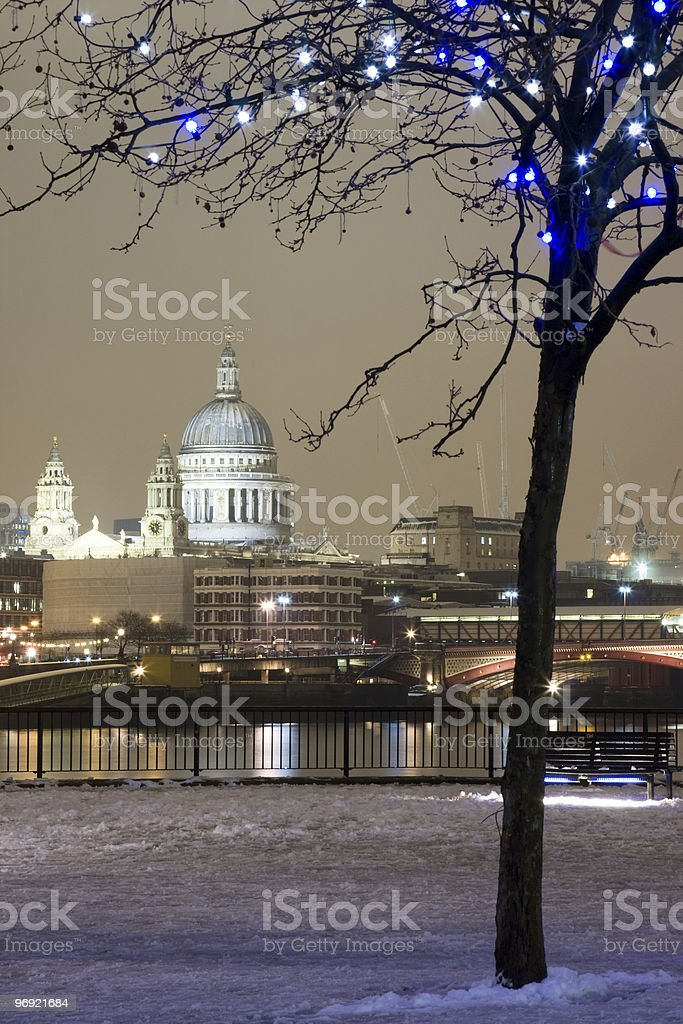 St. Paul's Cathedral in the snow royalty-free stock photo