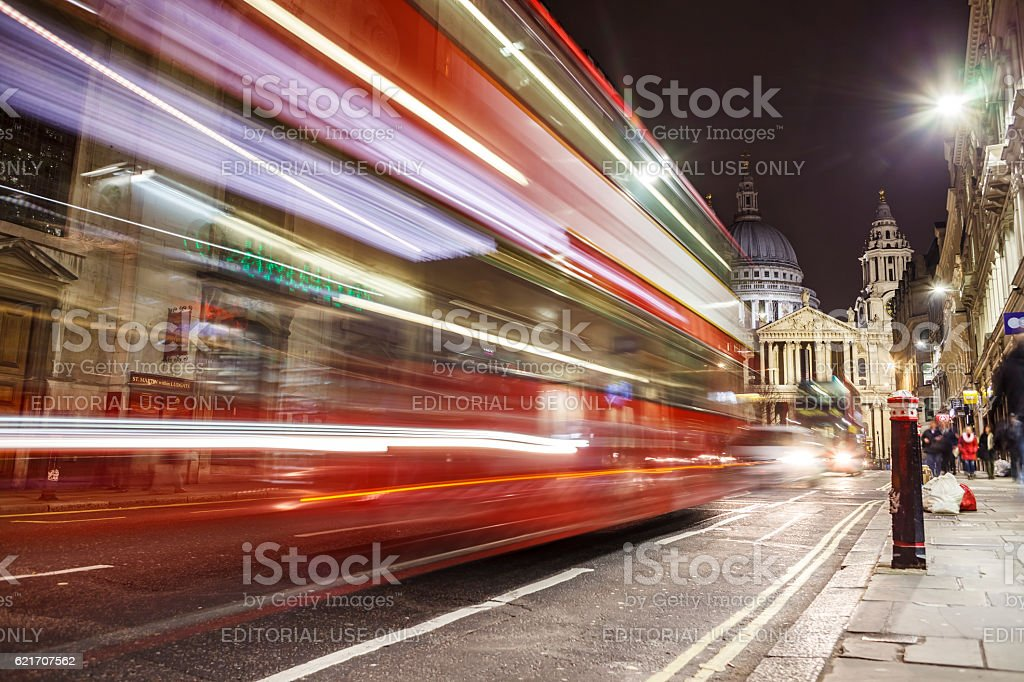 St Paul's Cathedral London, at night, long shutter stock photo