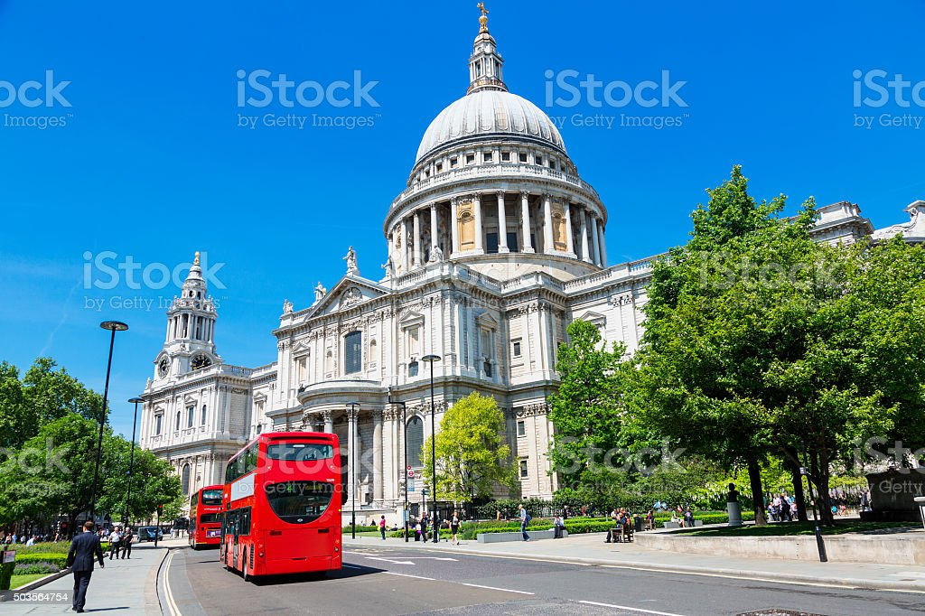 St Paul's cathedral, London Sunny day in St Paul's cathedral. Architectural Dome Stock Photo