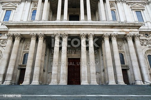 istock St Paul's Cathedral main entrance. London, United Kingdom 1316807105