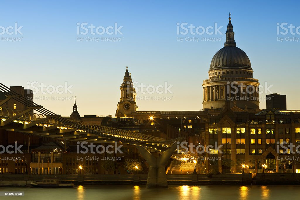 St Paul's Cathedral, Millennium Bridge, River Thames at Dusk, London royalty-free stock photo
