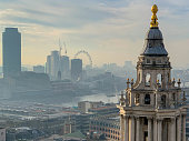 Views of and from St. Paul's Cathedral on a partly cloudy, slightly hazy London day.