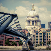 View on St Paul's Cathedral  at the distance and Millennium bridge over Thames River.