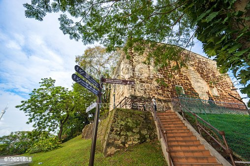Malacca, Malaysia - January 16, 2016: St. Paul's Church is a historic church building in Malacca, Malaysia that was originally built in 1521, making it the oldest church building in Malaysia and Southeast Asia