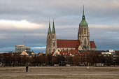 Munich, Germany - December 7, 2020: St. Paul's Church (Paulskirche), one of the biggest churches in the city, seen from Theresienwiese.