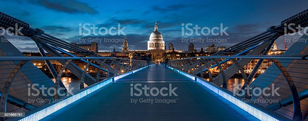 St Pauls from Millenium Bridge stock photo