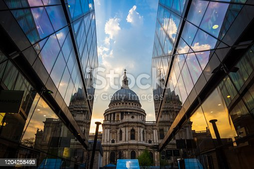A long exposure outside St. Paul's Cathedral in London, UK.