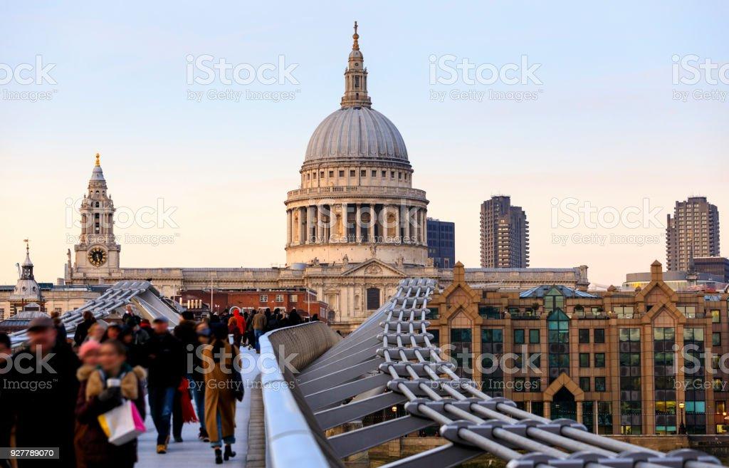 St Pauls Millennium Bridge London stock photo