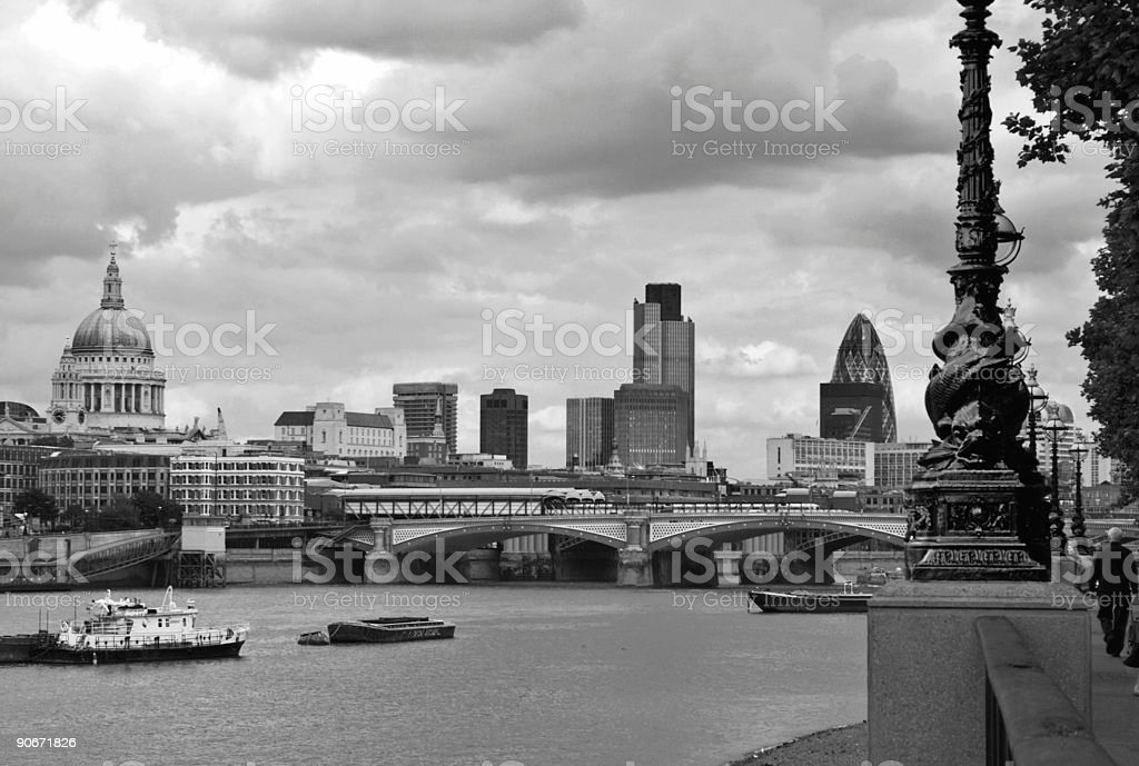 St Paul's to Gherkin in grey royalty-free stock photo