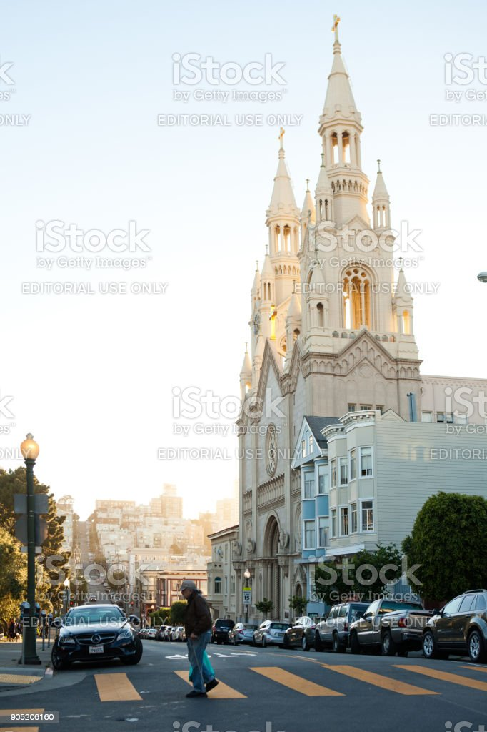 St Peter and Paul Cathedral, San Francisco. stock photo