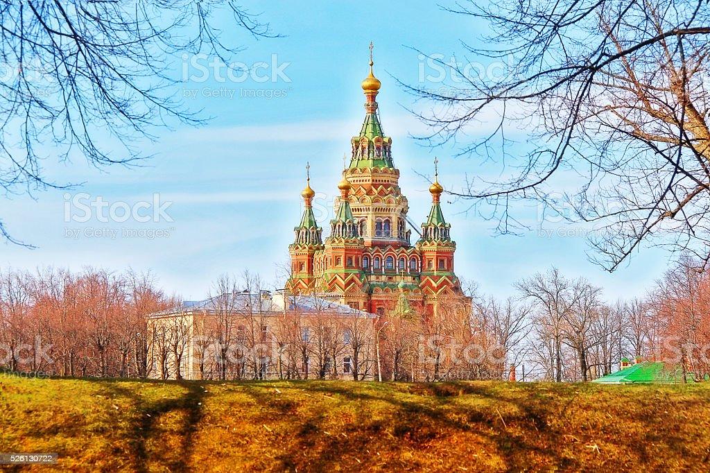 St. Peter and Paul Church, Peterhof, Saint Petersburg, Russia stock photo