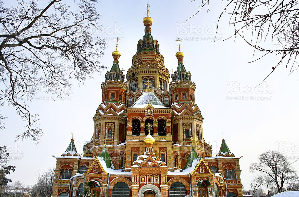 St. Peter and Paul's church in Peterhof, Russia royalty-free stock photo